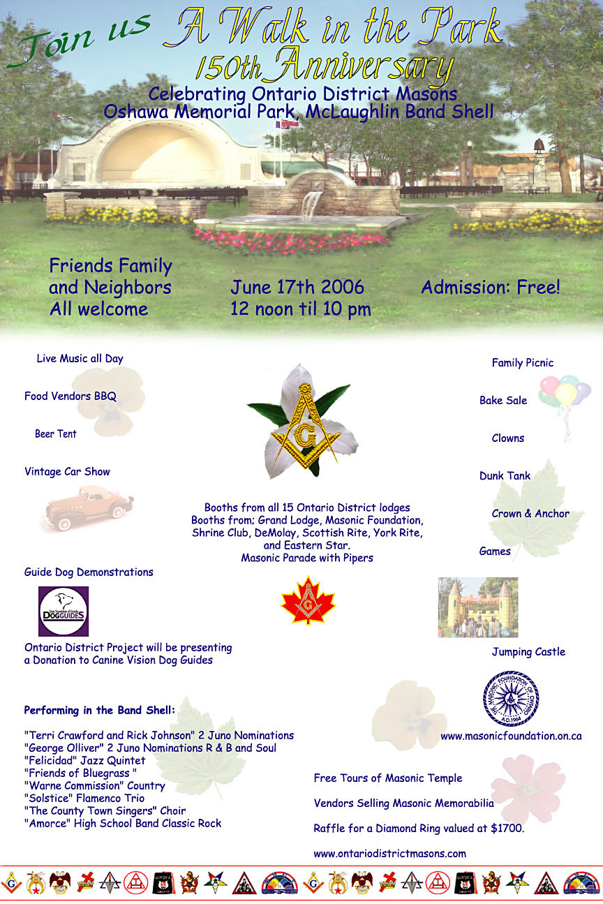 "Legal Sized Poster for Ontario District 150th Anniversary ""A Walk in the Park"" Celebration"